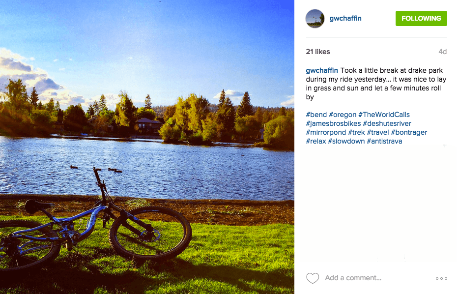 Check out Mirror Pond and Drake Park in Bend, Oregon on a Trek Travel cycling vacation