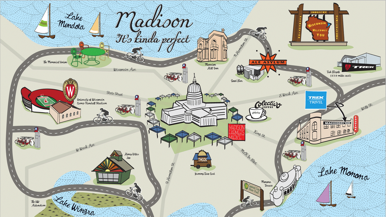Map of Madison, Wisconsin by Trek Travel