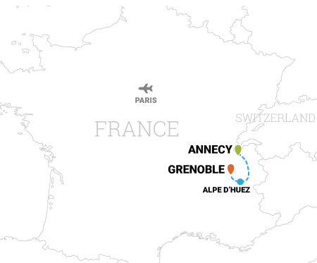 Map of Tour de France cycling vacation from Annecy to Alpe d'Huez, France