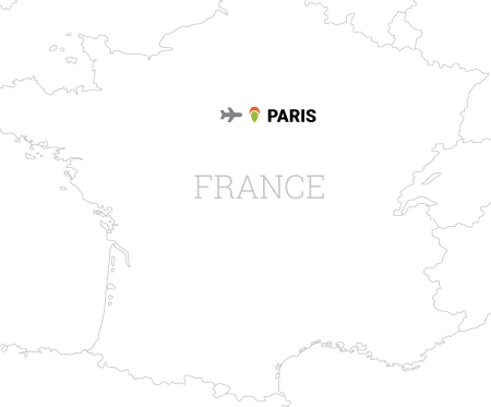 Map of Tour de France cycling vacation in Paris, France