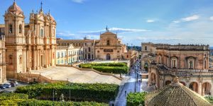 View on the main square of the old city of Noto, Sicily